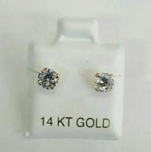 14k Gold 5mm round cut stud Earring with zirconia